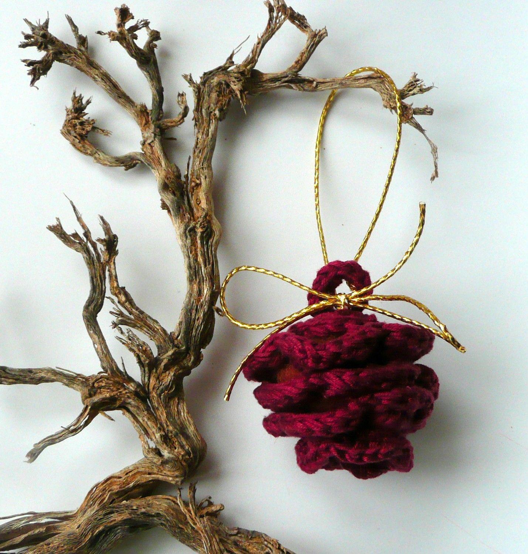 Christmas ornament crochet pinecone Dark red Weddings ...