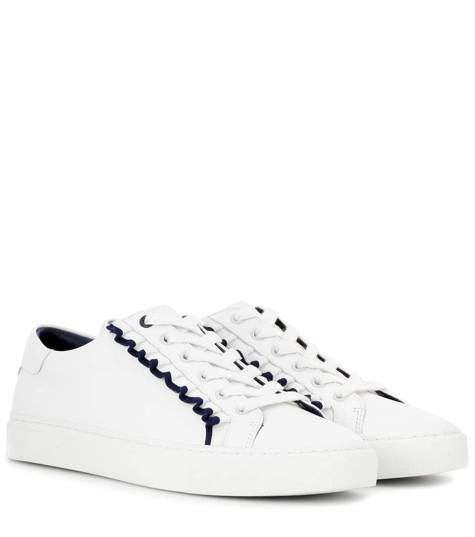 TORY BURCH Ruffle Embellished Leather Sneakers. #toryburch #shoes #sneakers