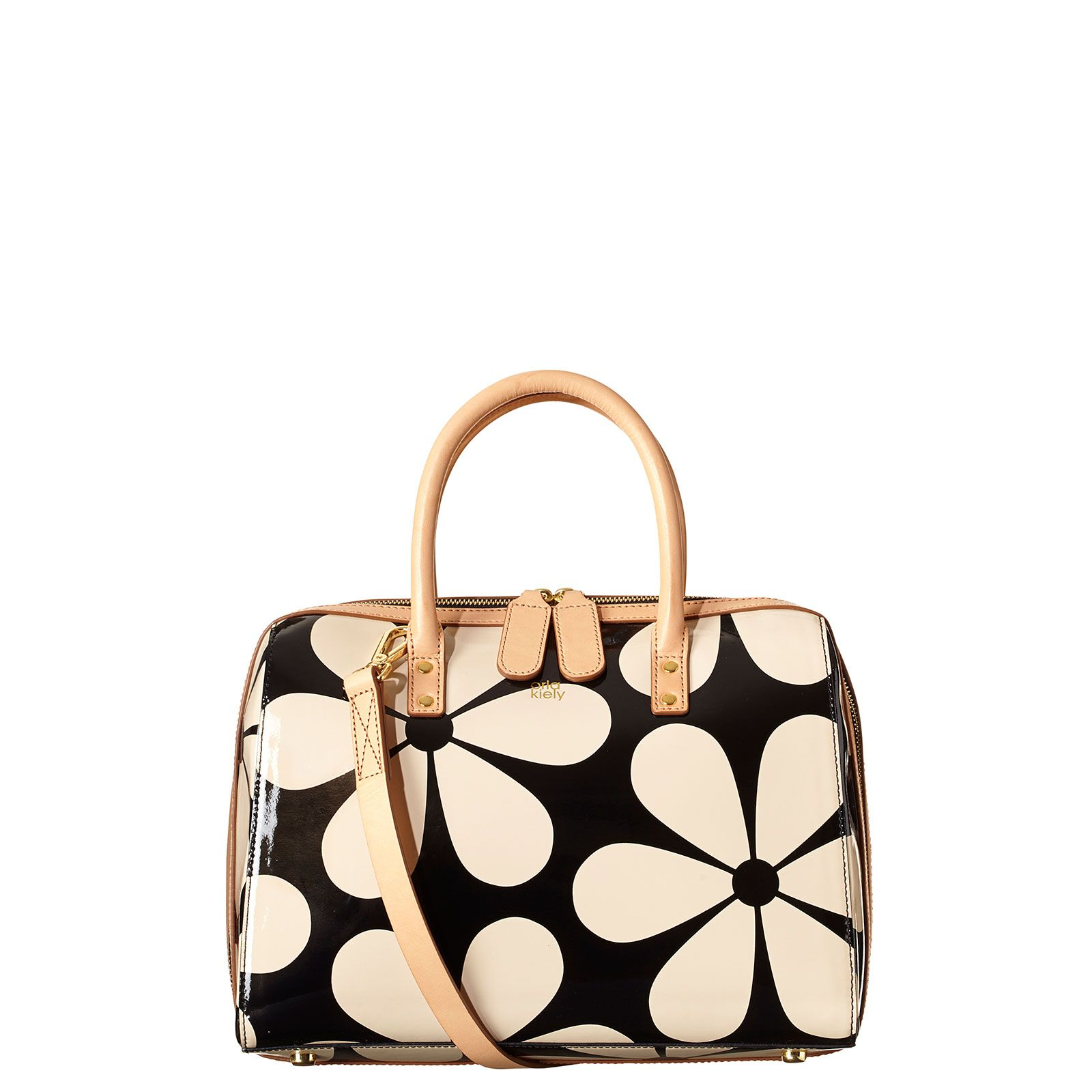 9c10427b674 Orla Kiely: Printed patent leather structured bag. Fully lined with zip  closure and gold colored hardware. Adjustable, detachable long leather  strap so that ...
