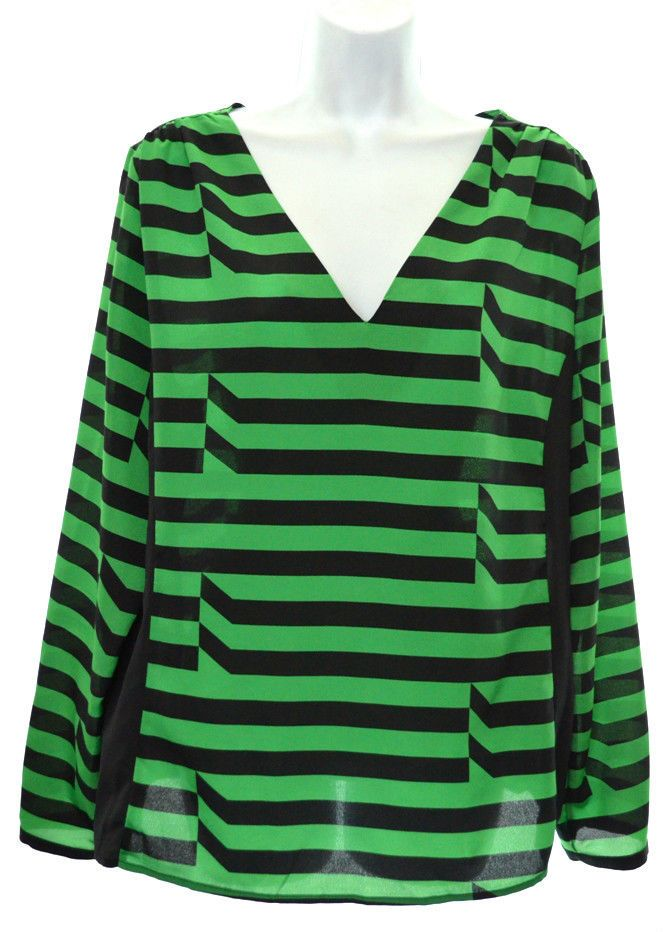 1a51d12790f0 WORTHINGTON Womens XL Green Black Stripe V Neck Long Sleeve Blouse Shirt  #Worthington #Blouse #Casual