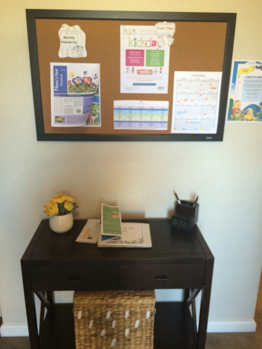 parent info board and sign in area Provider Home Tour