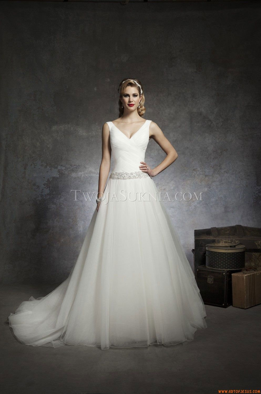 Günstige V-Ausschnitt A-linie ärmellose Hochzeitskleider aus Organza ...
