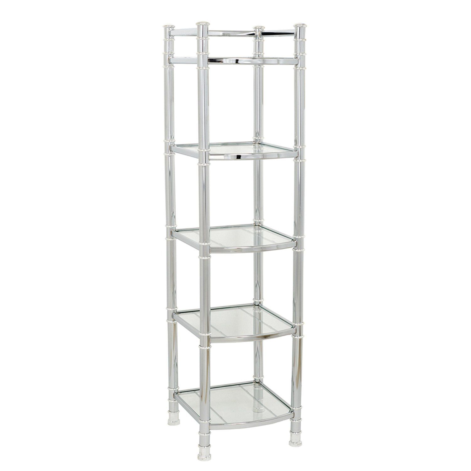 Zenna Home 9058ss 5 Tier Bathroom Shelf Linen Tower Chrome Glass Home Kitchen