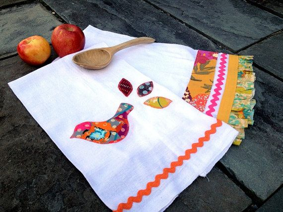 Chickade Kitchen Towels by Sewlovelees on Etsy, $24.00