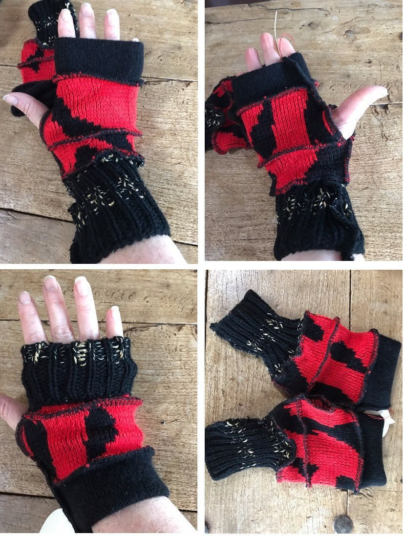 Driving gloves for arthritis - Red Black And Gold Recycled Sweater Fingerless Gloves Fingers Free Mitts Fingers Out