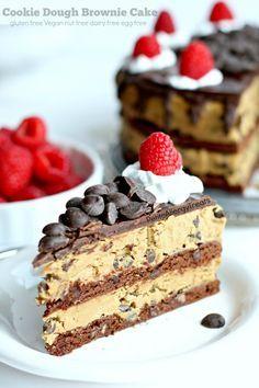 Gluten Free Cookie Dough Brownie Cake Vegan Recipe Cake