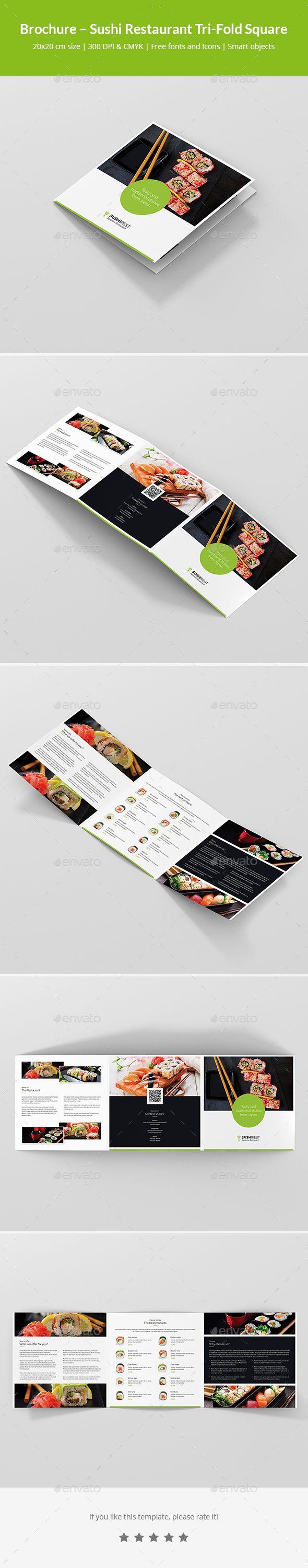 Sushi Restaurant Tri-Fold Square Brochure Template PSD #design ...