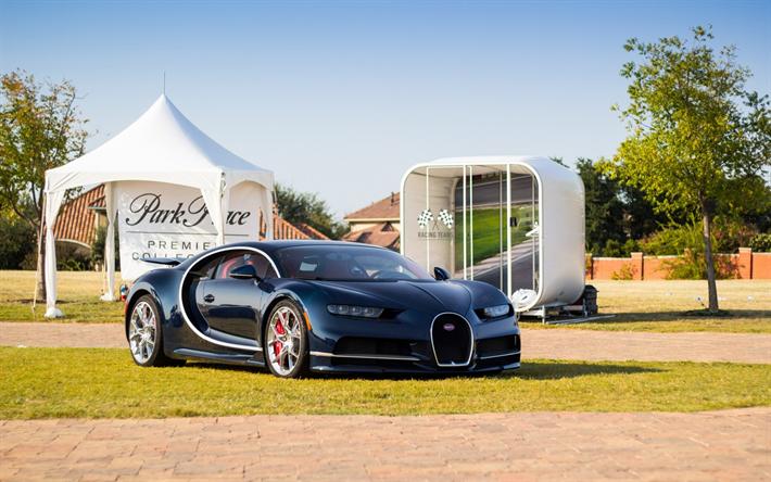 Download Wallpapers Bugatti Chiron 2018 Blue Black Hypercar Sports Coupe Racing Car Bugatti Besthqwallpapers Com In 2021 Bugatti Chiron Sports Coupe Cool Sports Cars