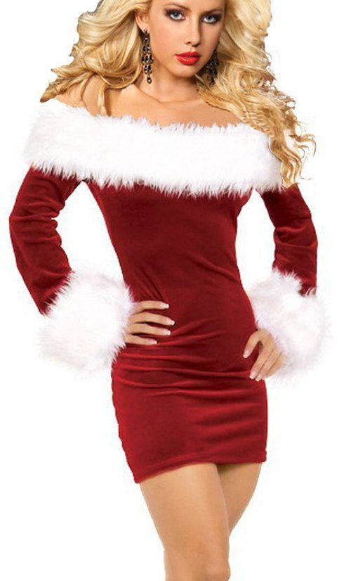 3229bee462a18 Sexy Dresses For Christmas Velvet Santa Claus Costume Hat Removable ...