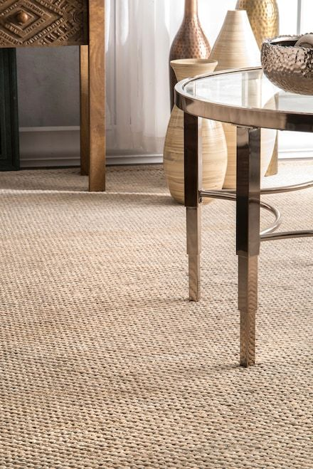 Rugs Usa Beige Nome Hand Woven Cotton Casual Solid Rug