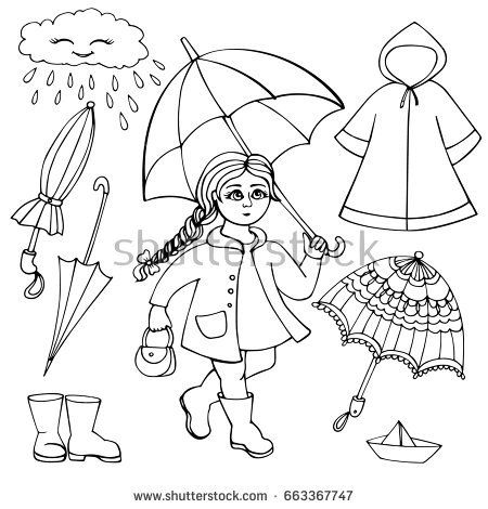 Set Of Clothes And Accessories For Rainy Weather Girl With Bright