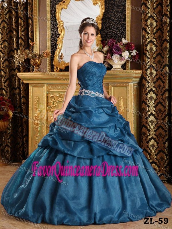 1782621cda5 Recommended Organza Teal Ball Gown Sweet 15 Dresses with Pick-ups ...