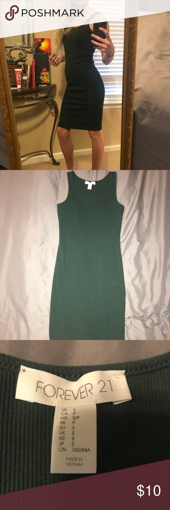 Forest Green Tank Top Bodycon Dress Size Small Green Tank Top Green Tank Dresses [ 1740 x 580 Pixel ]