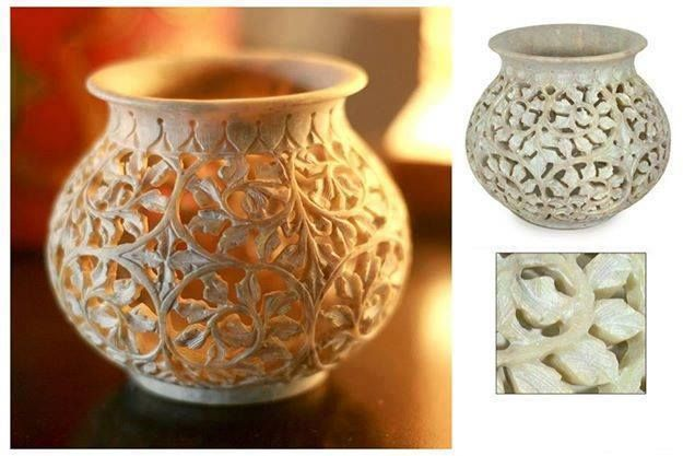 """#Ivy Vine :Soapstone jar   Finely carved in jali or openwork, ivy swirls in lacy patterns.Artisan crafts an exquisite jar in soapstone's natural colors.  Size : 4.5"""" H x 4.1"""" Diam.  Weight : .8 lbs"""