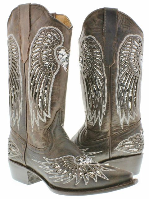 5a6578b5a06 COWGIRL STYLE BOOTS Sequin Heart & Angel Wing Inlay Snip Toe Brown ...