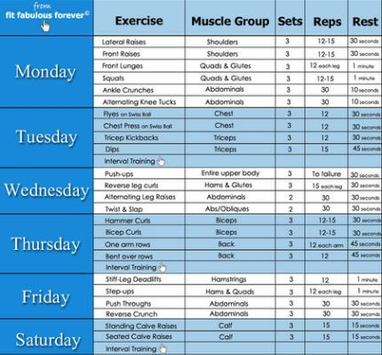 Gym Exercises Weekly Chart