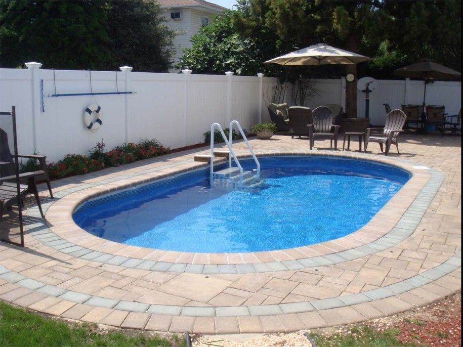 Small inground pools for small yards inground pools with white permanent fence semi - Backyard swimming pools designs ...