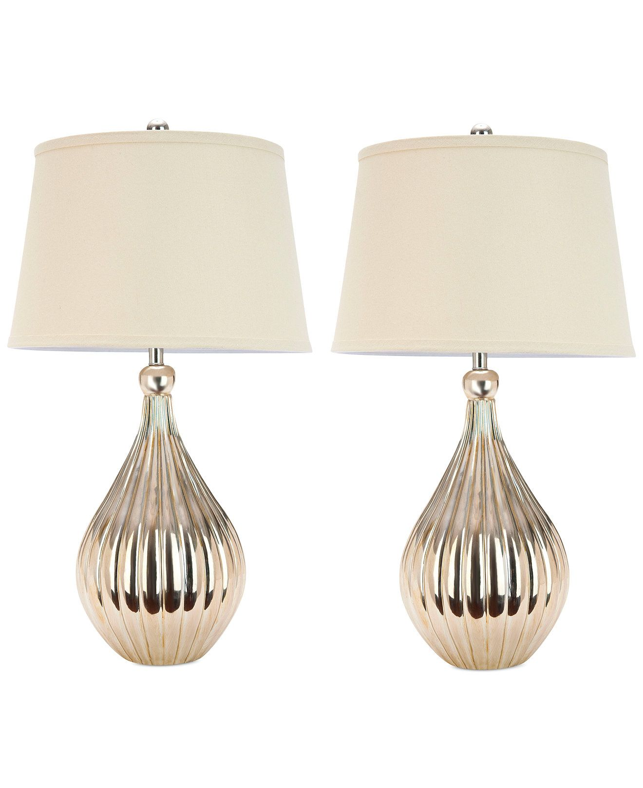 Safavieh Set of 2 Elli Champagne Gourd Lamps - Lighting & Lamps - For The Home - Macy's