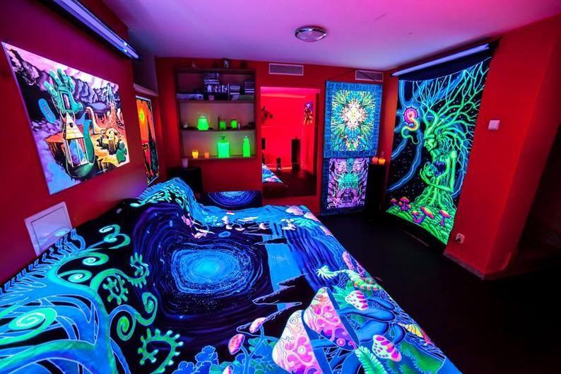 Psychedelic Bedset Trippy Bedding Uv Bedset Fluorescent Bedset Uv Active Homewear Blanket Mandala Duvet Cover Bedroom Decor Set Hippy Room Black Lights Bedroom Hippie Bedroom Decor