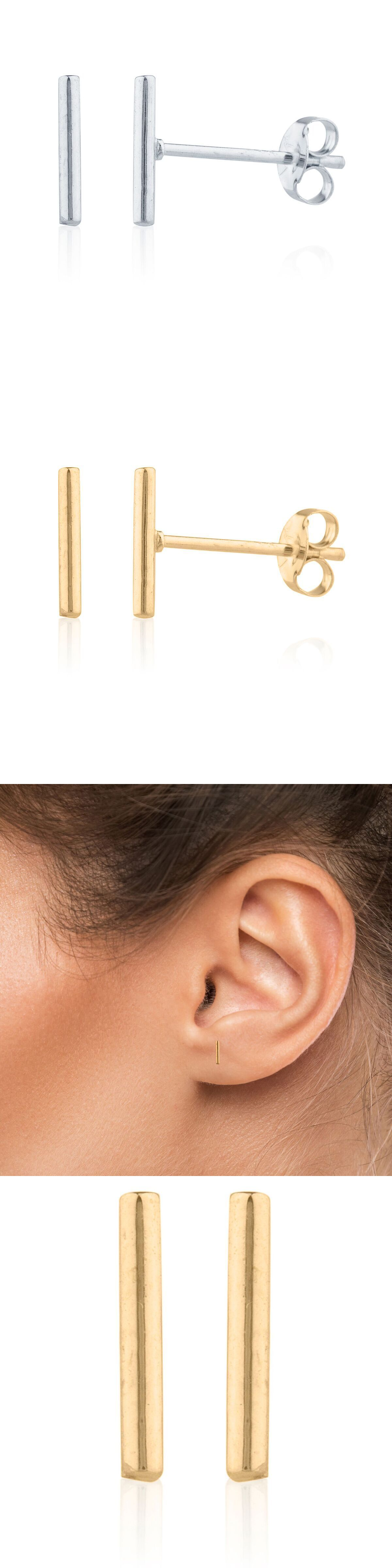 140b30001 Precious Metal without Stones 164319: 14K Solid Yellow White Rose Gold  Plain T Bar Push Back Single Stud Earring 8Mm -> BUY IT NOW ONLY: $24.99 on  eBay!
