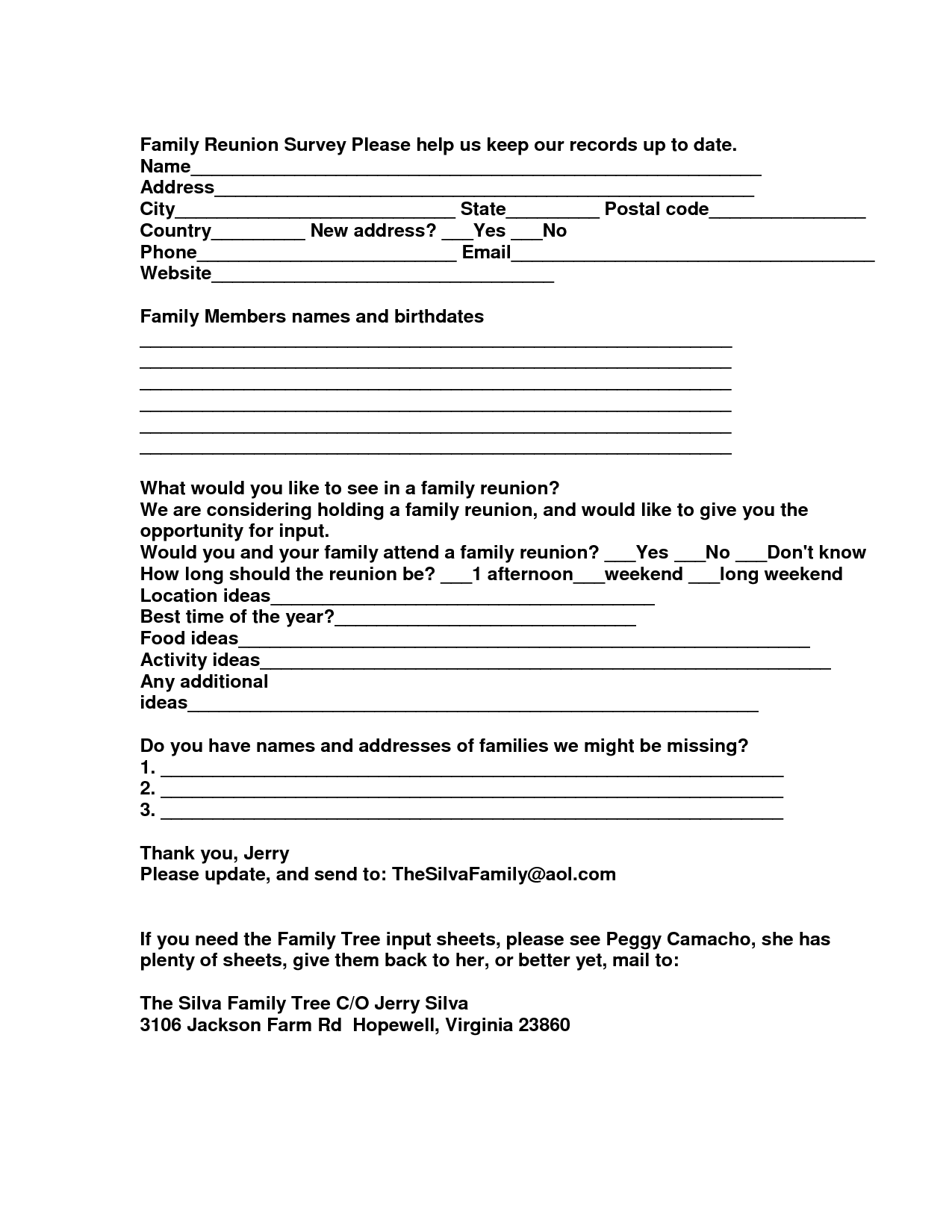 family reunion food ideas | Family Reunion Survey Please help us ...