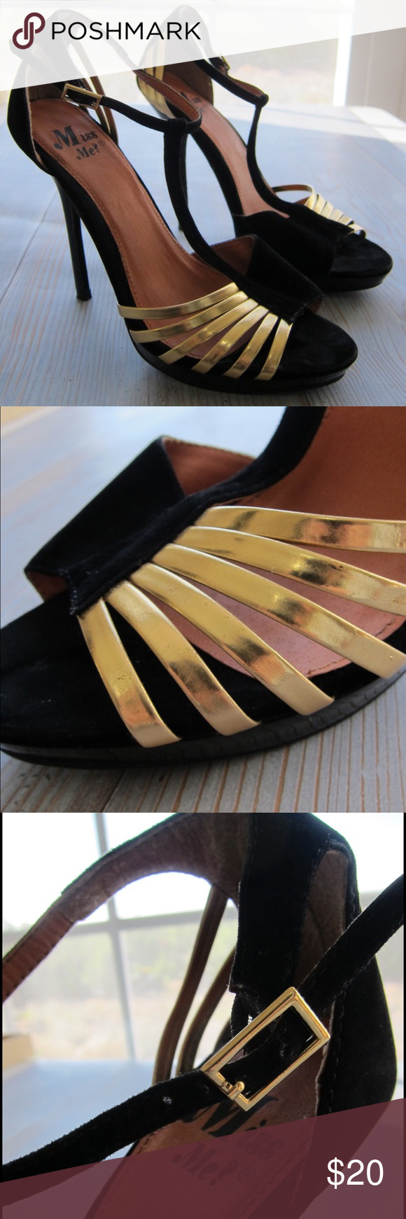 Miss Me black and gold suede pumps size 7 Sexy pumps with gold straps. Ankle strap closure. Gently worn. Size 7 Miss Me Shoes Heels