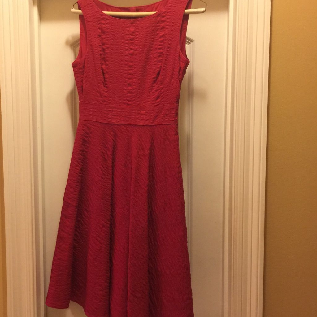 J Crew Red Fit And Flare Dress