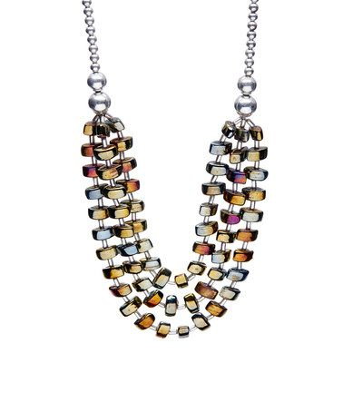 Another great find on #zulily! Silvertone & Jewel-Tone Beaded Statement Necklace #zulilyfinds