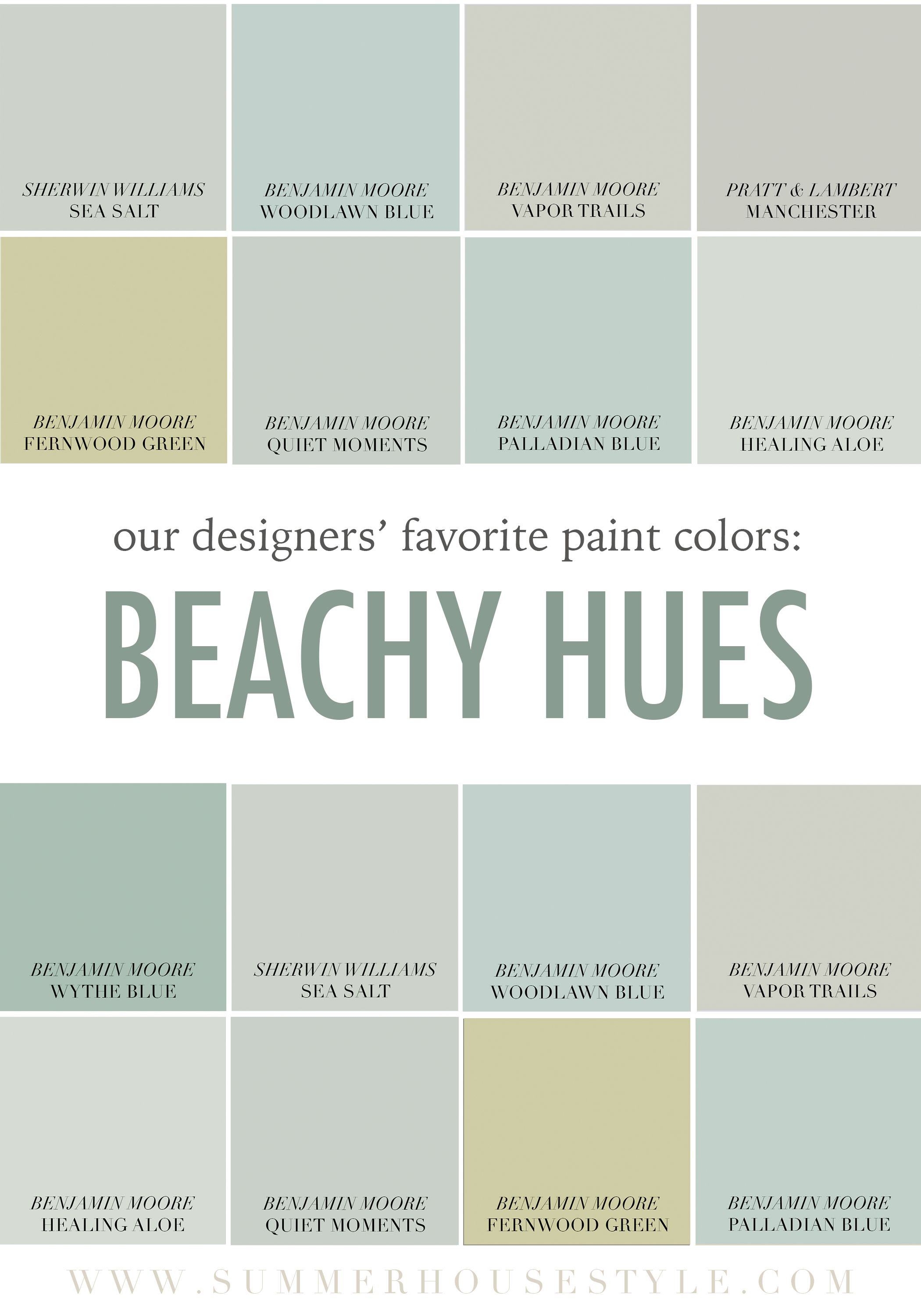 The best beachy paint colors picked by the interior for Popular light paint colors