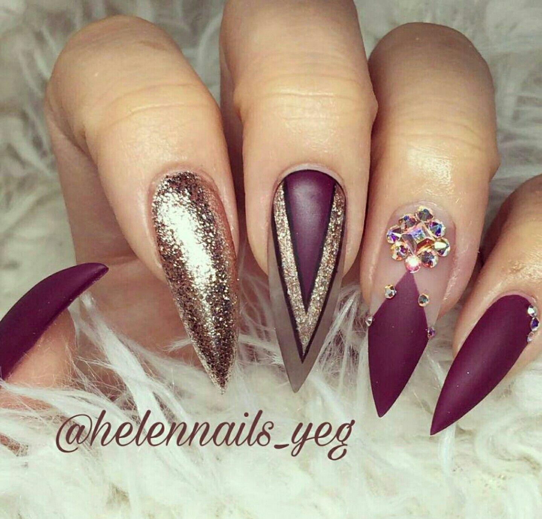 stiletto nails. gold and burgundy nails. acrylic nails. | nail me