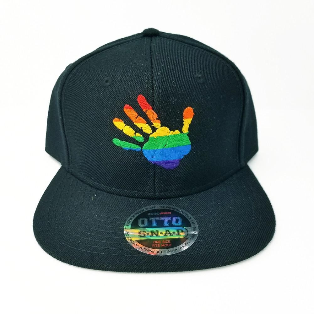 RAINBOW PRIDE HANDPRINT FLAT SIX PANEL PRO STYLE SNAPBACK HAT BLACK