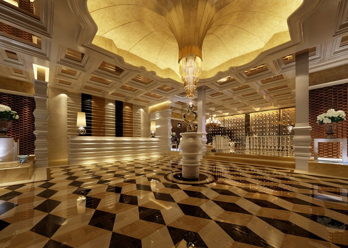 Luxury hotel lobby floor and ceiling design for Design hotel reception