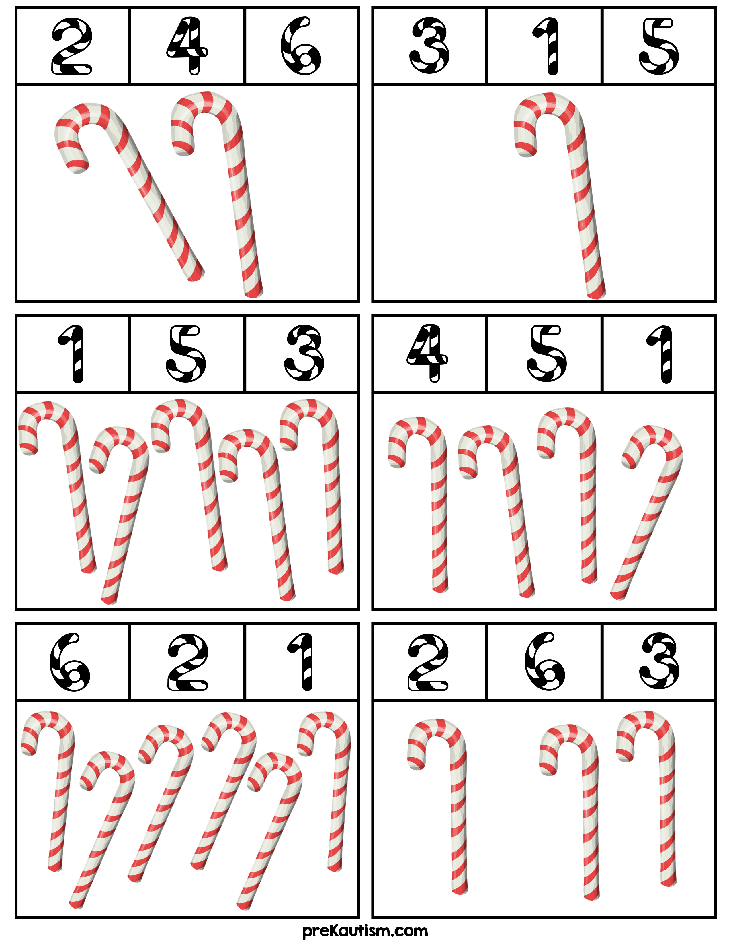 Candy Cane Counting Clip Cards - Activities For Toddlers With Autism ...
