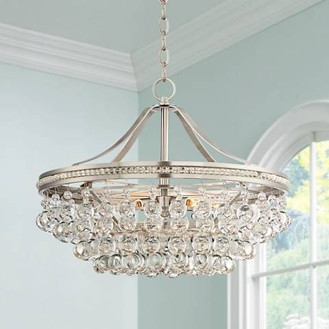 A shimmering five light pendant with an array of clear crystal accents and a brushed nickel frame 20 wide x high canopy is 5 wide style at lamps plus