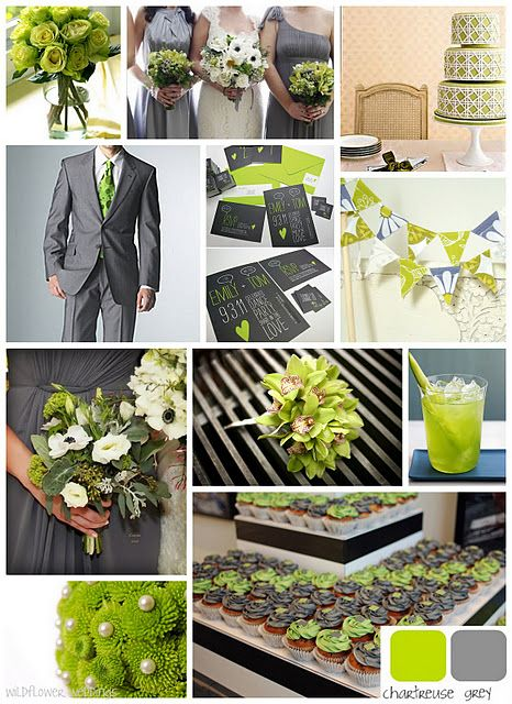 green and grey wedding colors- thinking lighter gray. Love the ...