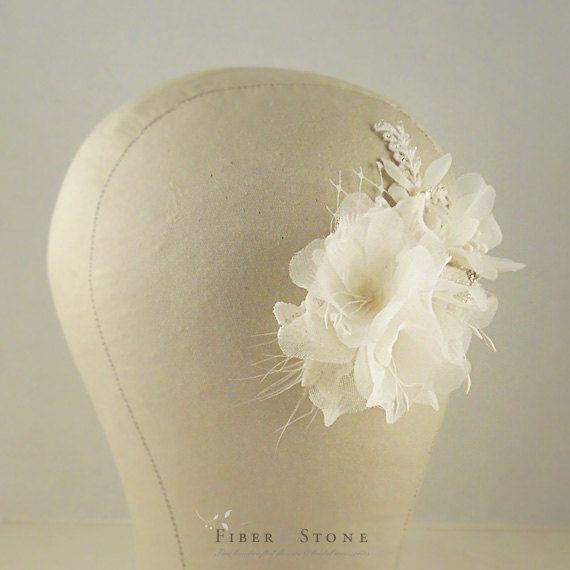 Silk Bridal Flower Comb Flower Bridal Fascinator by FiberStone