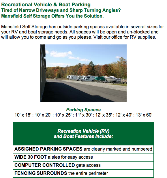 Store Your RV or boat at Mansfield self storage