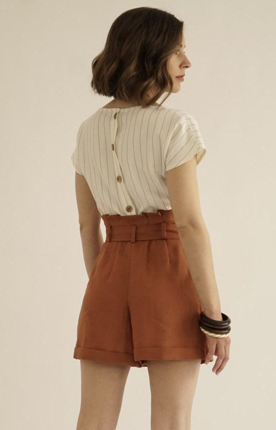 Paper Bag Shorts / High Waisted Shorts / Brown Shorts / Vintage ...