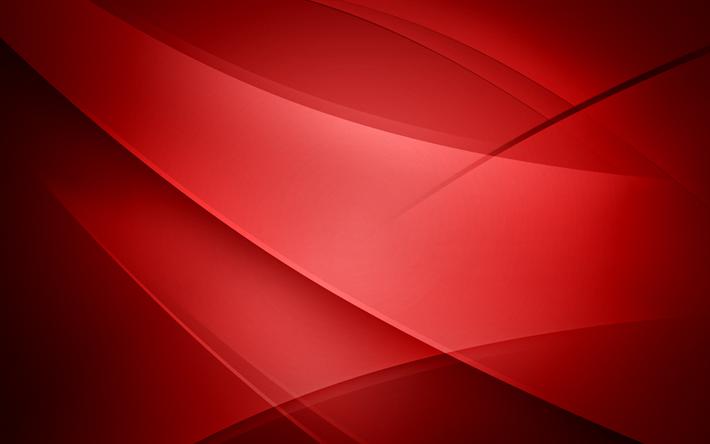 Scarica Sfondi Abstract Onde Sfondo Rosso Geometria Curve