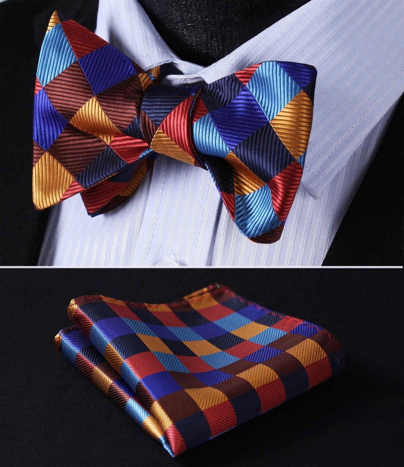 3d8159a20e7f BC703NS Orange Blue Check Bowtie Men Silk Self Bow Tie handkerchief set