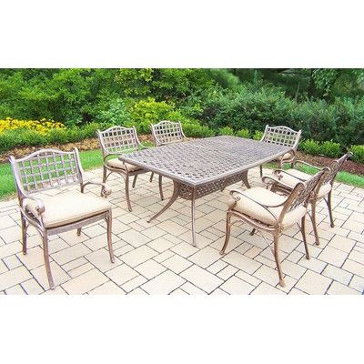 Beachcrest Home Claremont 7 Piece Dining Set with Cushions Cushion Color: Sunbrella Spunpoly