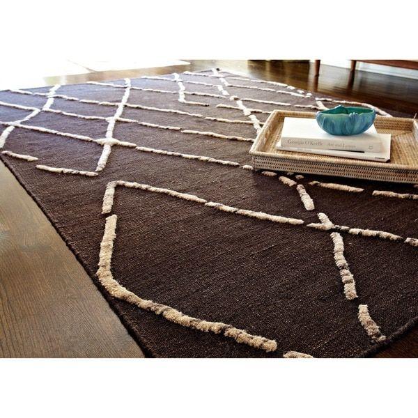 Handcrafted Lennon Turkish Coffee Wool Rug (7'9 x 9'9)