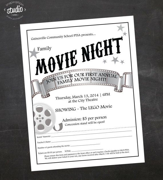 Custom Printable Family Or MotherSon Movie Night School Or Church