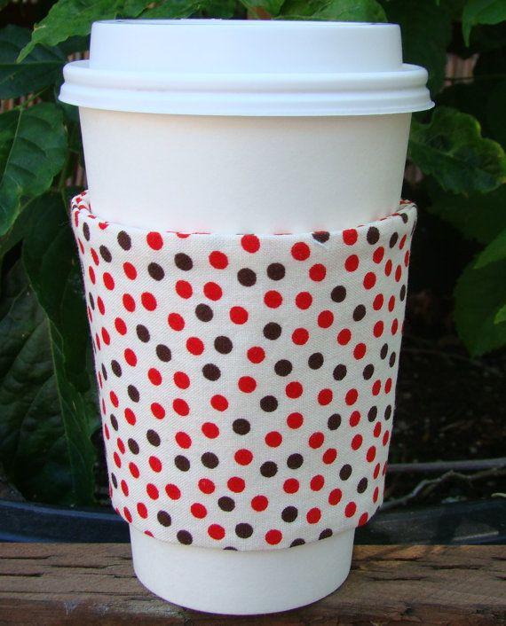 Sock Monkey Polka Dots Fabric Coffee Cozy by MyCozyCabinCreations, $4.00
