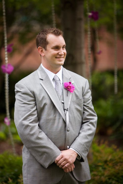 #boutonniere  Photography:   Read More: http://www.stylemepretty.com/2009/06/25/wedding-colors-a-profusion-of-pink-and-grey-from-weddings-and-the-city/