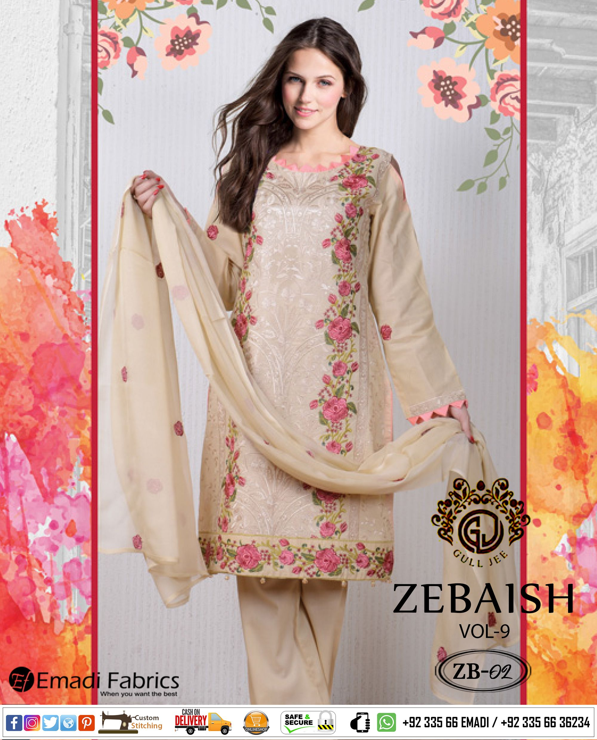 489d0a593c #GULLJEE - ZEBAISH COTTON EMBROIDERED WITH CHIFFON DUPATTA COLLECTION VOL-09.  AVAILABLE AT