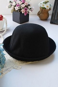 Chic Black Wool Blending Bowler Hat