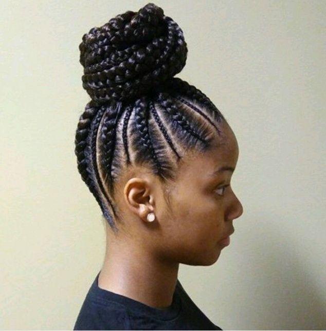 African American Braided Bun Hairstyles Natural Hair Styles Braided Ponytail Hairstyles Cornrow Ponytail