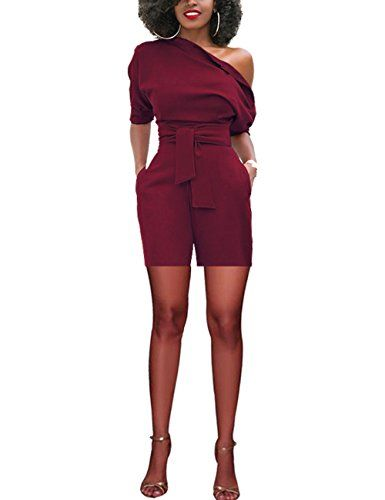 f75b4cc5843 Subtle Flavor Women s Sexy One Shoulder Solid Jumpsuit Half Sleeve High  Waist Shorts Romper with Belt