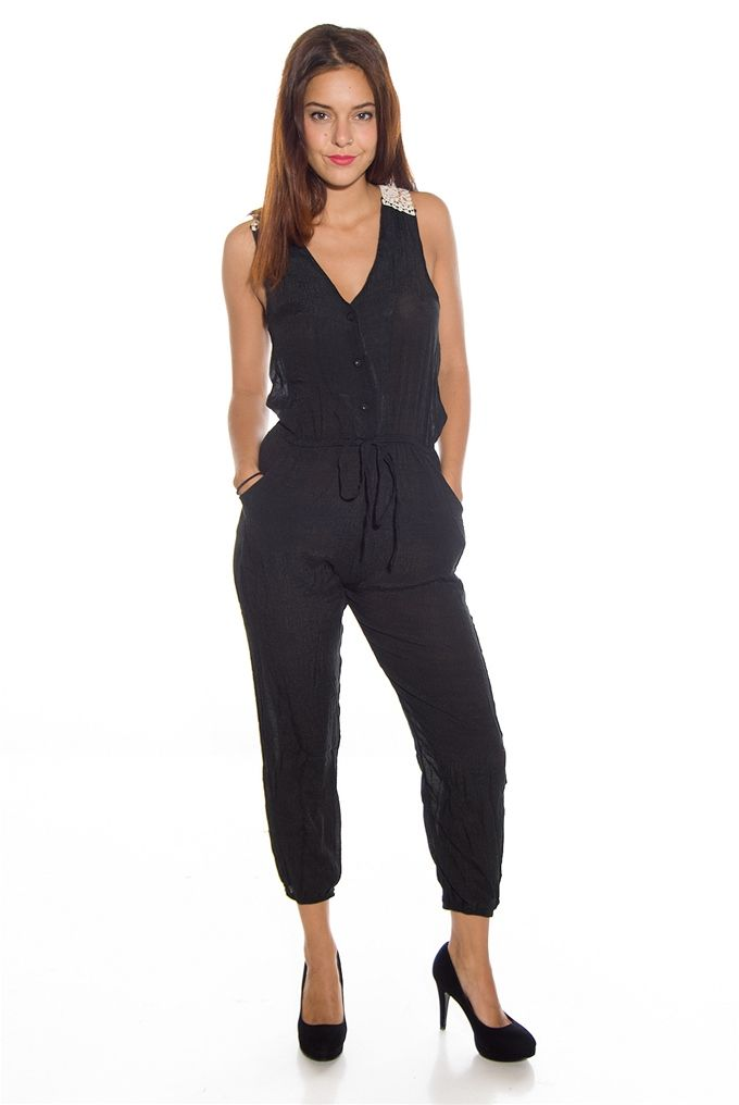 7ad7d20ce3e Statement Style Button Up Crochet Back Capri Jumpsuit - Black from Toxik3  at Lucky 21